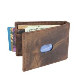 Mens Bifold Money Clip Spring Loaded ID Card Front Pocket Wa