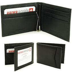 mens bifold money clip spring loaded leather