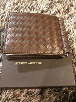 Bottega Veneta Mens Bifold Money Clip Wallet Brown Authentic