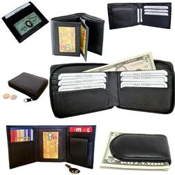 mens bifold trifold leather black wallet card
