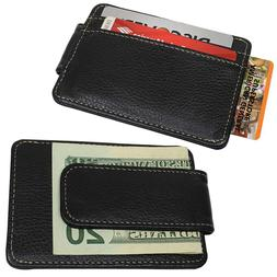Mens Black Genuine Leather Magnetic MONEY CLIP WALLET Slim C
