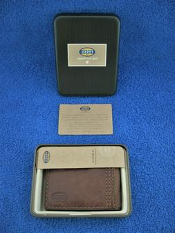 mens brown leather flip id bifold wallet