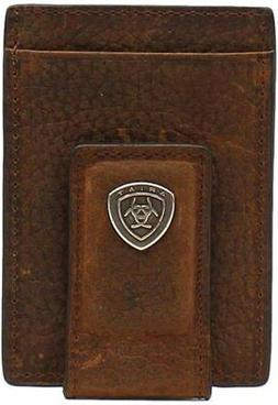 Ariat Mens Card Case Money Clip Leather Rowdy Brown Wallet b