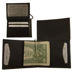 Mens Genuine Leather Cowhide BLACK L Shape bifold Money Clip