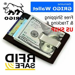 Mens Brown Leather Money Clip Front Pocket ID Card RFID Bloc