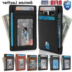 Mens Genuine Leather Money Clip RFID Blocking ID Card Front