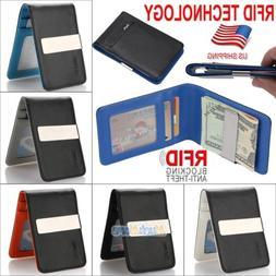 Mens Genuine Leather Money Clip RFID Blocking Slim Wallets I