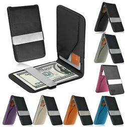 mens genuine leather silver money clip slim