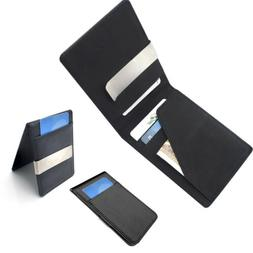 Mens Genuine Leather Silver Money Clip Slim Wallets Black ID