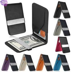 Mens Genuine Leather Wallets With Money Clip ID Credit Card