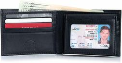 Alpine Swiss Mens Leather Bifold Wallet Removable Flip Up ID
