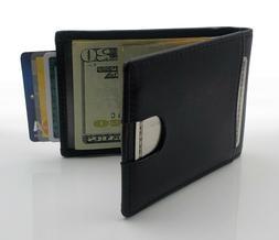 AG Wallets Mens Leather Bifold Wallet, RFID, Slim Design, Mi