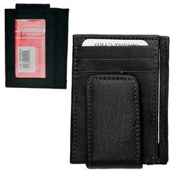 Mens Leather Magnetic Money Clip Front Slim Credit Cards ID