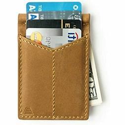 Mens Leather Money Clip, Front Pocket Minimalist Card Holder