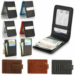 Mens Leather Money Clip Magnet Front Pocket Wallet Slim ID C