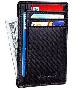Mens Leather Money Clip Slim Front Pocket Wallet ID Credit C