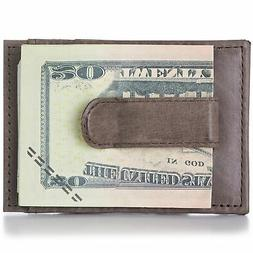 Alpine Swiss Mens Leather Money Clip Thin Front Pocket Walle