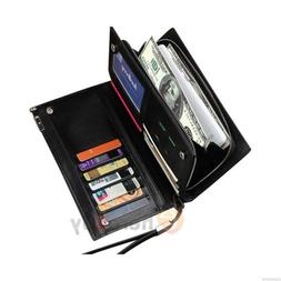 Mens Leather ID Card Holder Zip Wallet Purse Clutch Checkboo