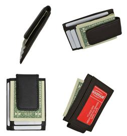 Mens Leather Money Clip Wallet ID & Credit Card Holder Magne