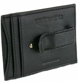 Mens Leather Money Clip Wallet Thin Slim Minimalist 4 Card C