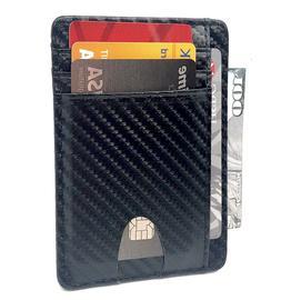 Mens Leather Slim Wallet RFID Blocking Money Clip ID Holder