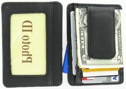 mens leather wallet money clip credit card