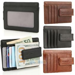 Mens Leather Wallet Money Clip Credit Card ID Holder Front P