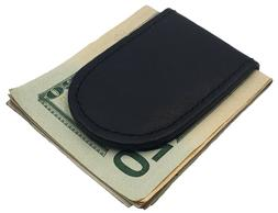 Mens Metal - Leather Bifold Magnetic Money Clip Slim Front P