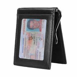Mens Slim Money Clip Wallet Leather RFID Front Pocket Credit