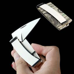 Mens Money Clip with Folding Knife Stainless Steel Cash Hold