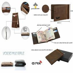 Mens Real Leather Wallet Money Clip Bifold RFID Front Pocket