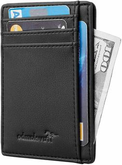 mens rfid blocking black leather wallet money