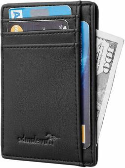 Mens RFID Blocking black Leather Wallet Money Clip Credit Ca