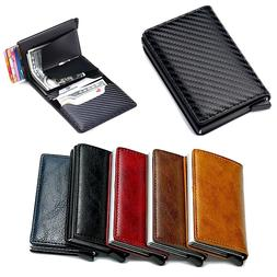 Mens RFID Blocking Leather Credit Card ID Holder Wallet Slim