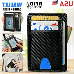 Mens RFID Blocking Leather Slim Wallet Money Clip ID Credit