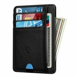 Mens RFID Blocking Leather Slim Wallet Money Clip Credit Car