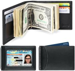 Amelleon Mens RFID Blocking Leather Wallet Front Pocket Bifo