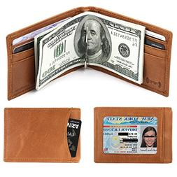 amelleon Men's RFID Blocking Leather Wallet – Front Pock