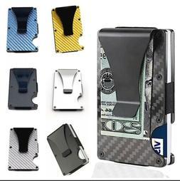 Mens RFID Blocking Slim Money Clip Carbon Fiber Wallet ID Cr