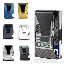 Mens RFID Blocking Slim Money Clip Carbon Fiber Wallet ID Cr