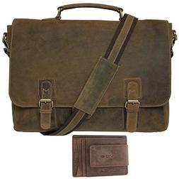 Viosi Mens RFID Leather Messenger Bag / 14 or 16 Inch Laptop