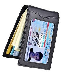 Kinzd Mens Slim Bifold Leather Front Pocket Wallet RFID Mone