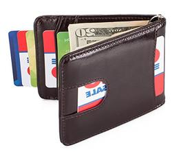 Mens Slim Leather Front Pocket Wallet with Money Clip RFID B