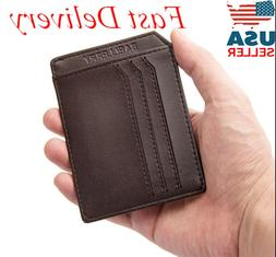 Mens Slim Thin Leather Wallet Front Pocket Money Clip Credit