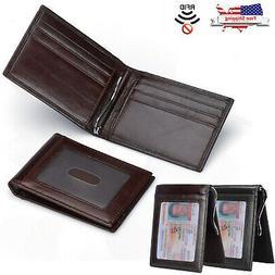 Mens Slim Wallet w/ Money Clip Genuine Leather RFID Blocking