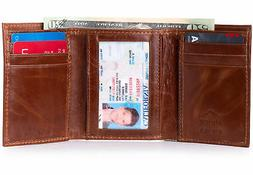 Alpine Swiss Mens Trifold Wallet Genuine Leather Card Case I