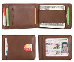 Mens Wallet Slim Genuine Leather Front Pocket Wallet for Men
