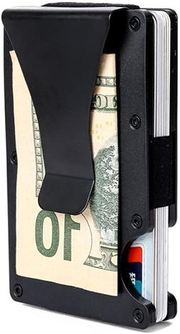 Minimalist Aluminum Wallet, Slim Money Clip Metal RFID Front