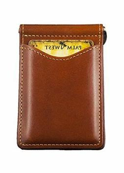 Palm West 225RFID-C Mens Premium Leather, Minimalist Money C