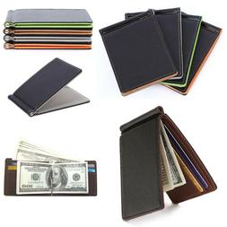 Minimalist Slim Bifold Wallet with Money Clip for Men ID Cre